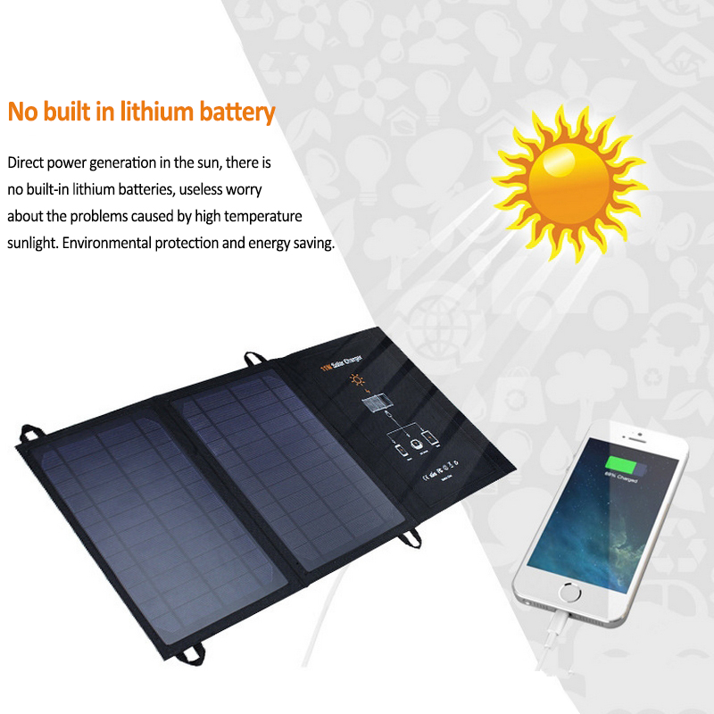 5V 11W Monocrystalline Silicon Solar Panels Battery Cells Charger for iPhone Android Phone MP3 Player Dual USB Ports