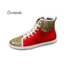 Gold Rivets Toe Men Casual Shoes Fashion Party and Banquet Bright Sequins Men Loafers Euro Designer High Top Street Men Flats