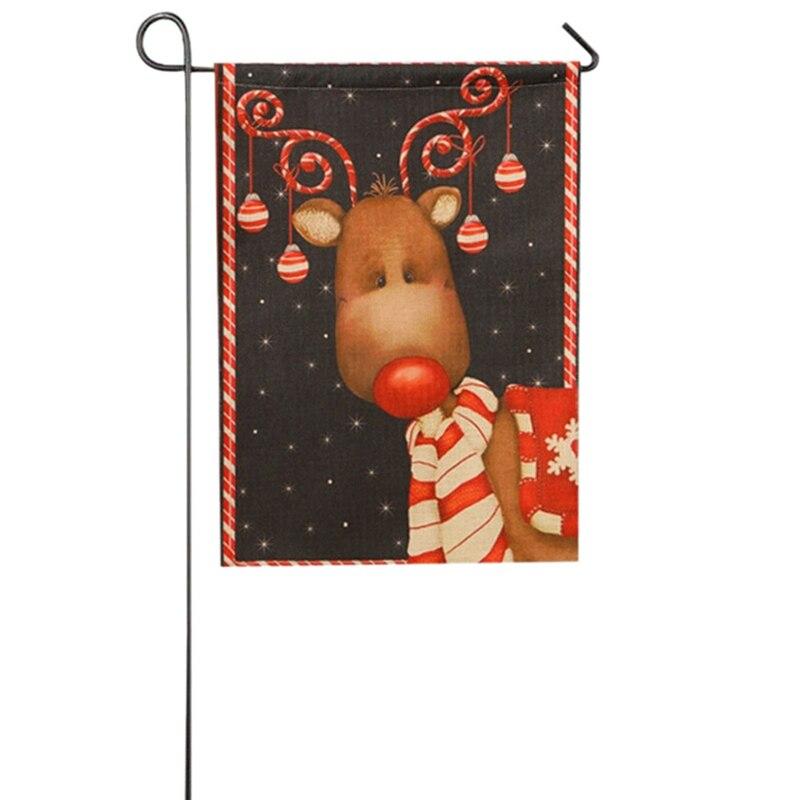 Christmas Santa Claus Reindeer Snowman Garden Flag Indoor Outdoor Home Decor Winter Snowflake Festival Party Supplies 6Style