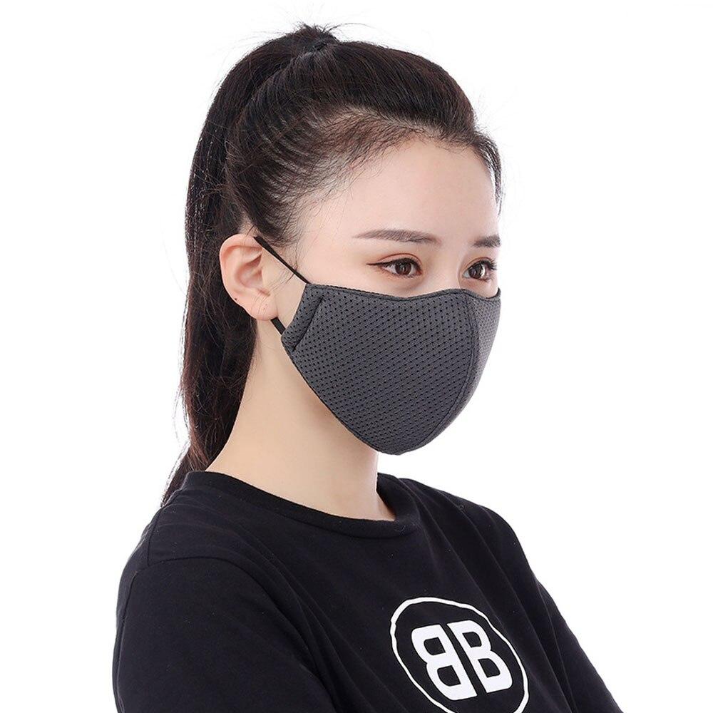 1Pcs Fashion Mouth Mask Unisex Summer Sunscreen Breathable Thin Mesh Cotton (Black/Gray/Blue)