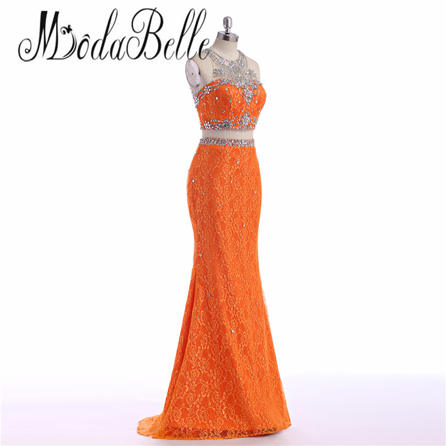 modabelle Orange Two Piece Prom Dresses Long 2017 Maxi Lace Mermaid ...
