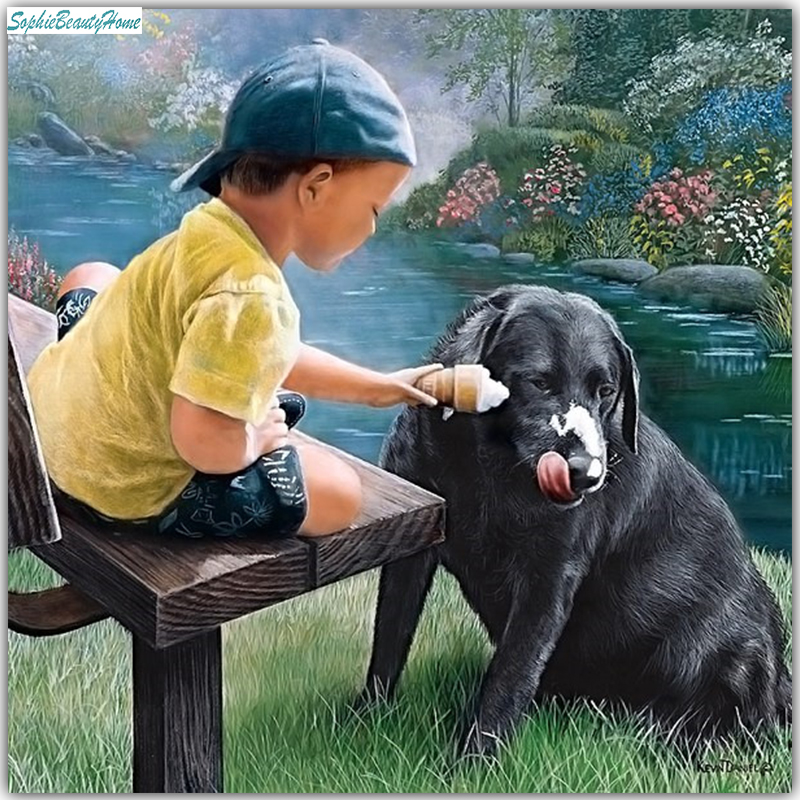 Sophie beauty home diy painted diamonds boy and dog 5D cross-stitch diamond inlay 3D han ...