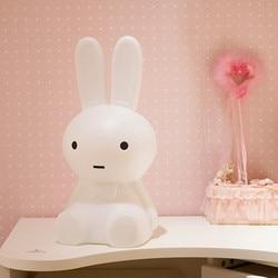 Luz LED nocturna con forma de conejo de dibujos animados 50cm luz de ambiente con enchufe regulable para decoración de habitación de bebé infantil
