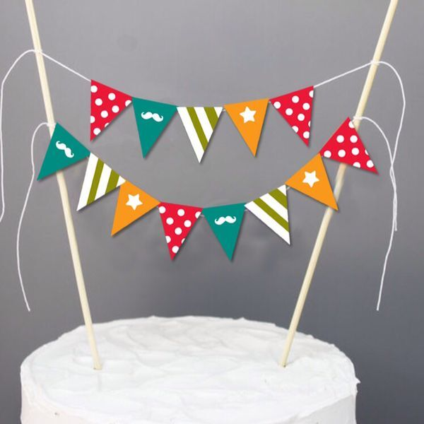 New Baby Shower Cake Buntings Mustache Decor Boy 1st Birthday Party Toppers Dessert Decorationslittle Man Favors