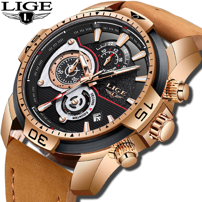 цена New Business Men Watch LIGE Mens Watches Top Brand Luxury Quartz Gold Watch Men Military Waterproof Sport Watch Erkek Kol Saati