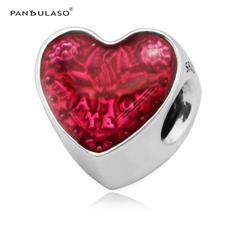 Pandulaso Latin Love Heart Beads Fit EU Brand Charms Bracelet 100% 925 Sterling Silver Jewelry Beads Women DIY Fashion(China)