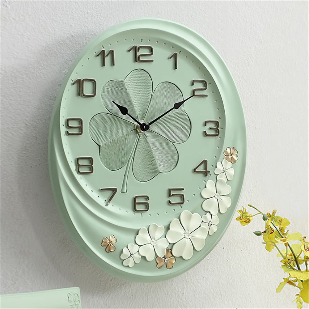 European Pastoral Lucky Leaves Wall Clock Nordic Trendy Pink Mute Needle Quartz Wall Clock Home Living