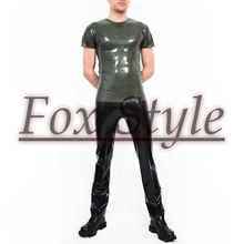 Free shipping latex clothes latex shirt with Round collar including latex pants
