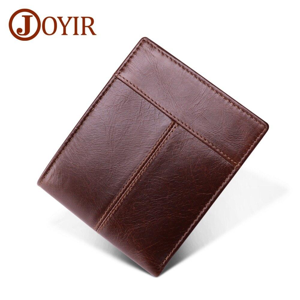 JOYIR New Design Genuine Leather Mens Retro Wallet Multi-color Double Fold Business