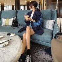 2018 Autumn Chic Patchwork Denim Striped Blazer Long Women Casual Blue/White Pockets Notched Blazer Outerwear