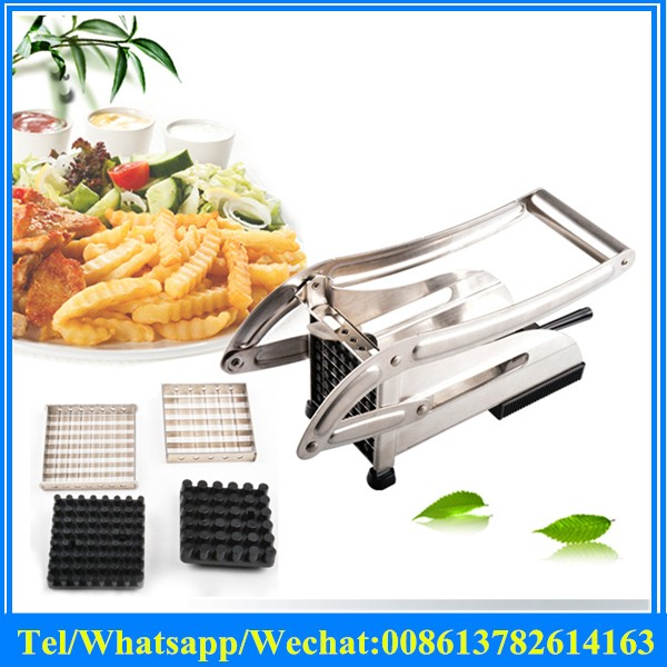 Stainless Steel Home Manual French Fries Potato Chips Strip Cutting Cutter Machine Mini Vegetable Slicer Chopper Dicer+2 Blades