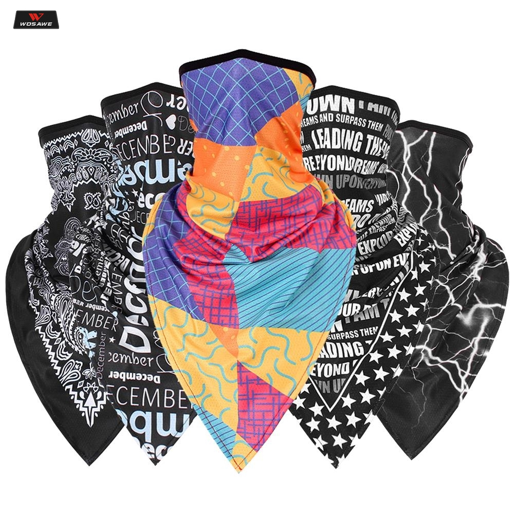 Windproof Moto Mask Motorcycle Half Face Printing Mask Balaclava Neck Triangle Scarf Outdoor Breathable Face Shield Skull Mask