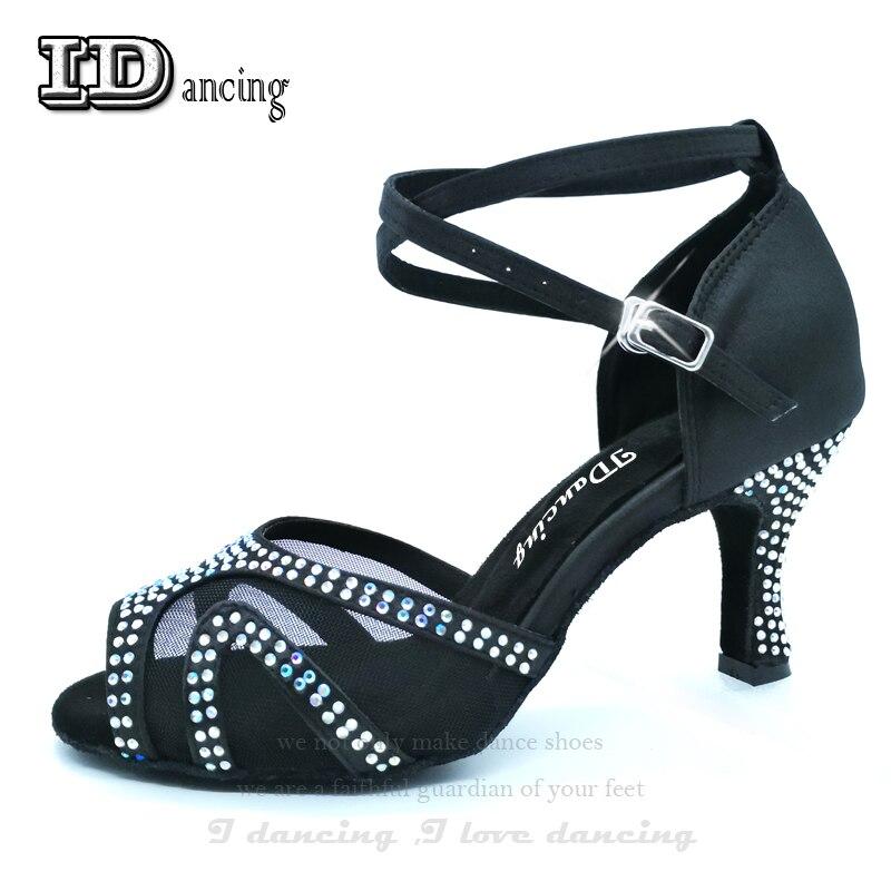 Sneakers Woman Dance  Latino Dancing Shoes For Girls Rhinestone Ballroom Latin Shoes  Ladies Salsa Shoes Virous Colors JuseDanc