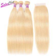 613 Blonde Bundles With Closure Brazilian Straight Hair Bundles With Closure Remy Human Hair Weave Extenstions 10 To 24 Inch