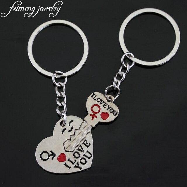eb2b7dcfa1 Fashion Sweet Couple Keychain I LOVE YOU Heart Metal Keyring 7 Styles  Creative Design Key Chain For Lovers Romantic Gifts