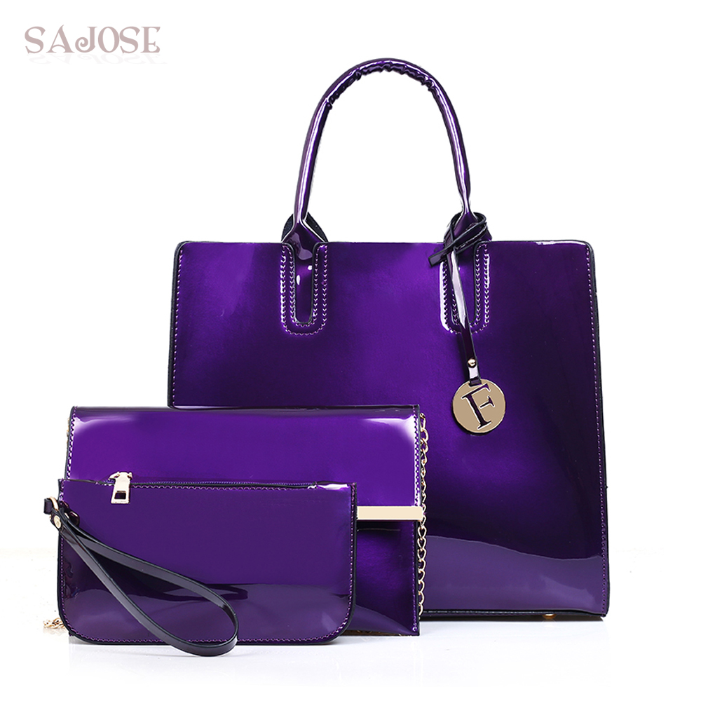Women Composite Bag 3 pcs/set Tote Luxury Patent Lady Leather Purse and Handbag Famous Brands Female Shoulder Bag Drop Shipping