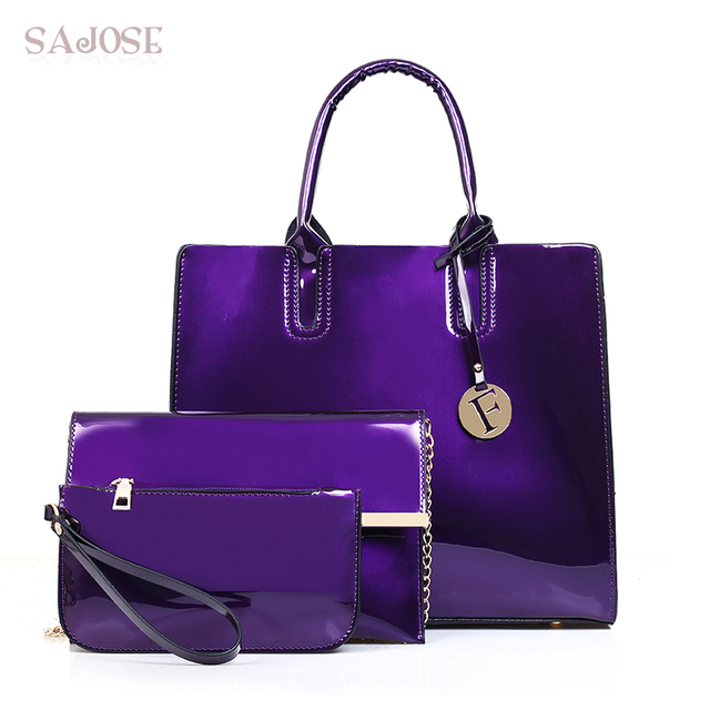 3a893aaee4b4 Women Composite Bag 3 pcs set Tote Luxury Patent Lady Leather Purse and  Handbag Famous