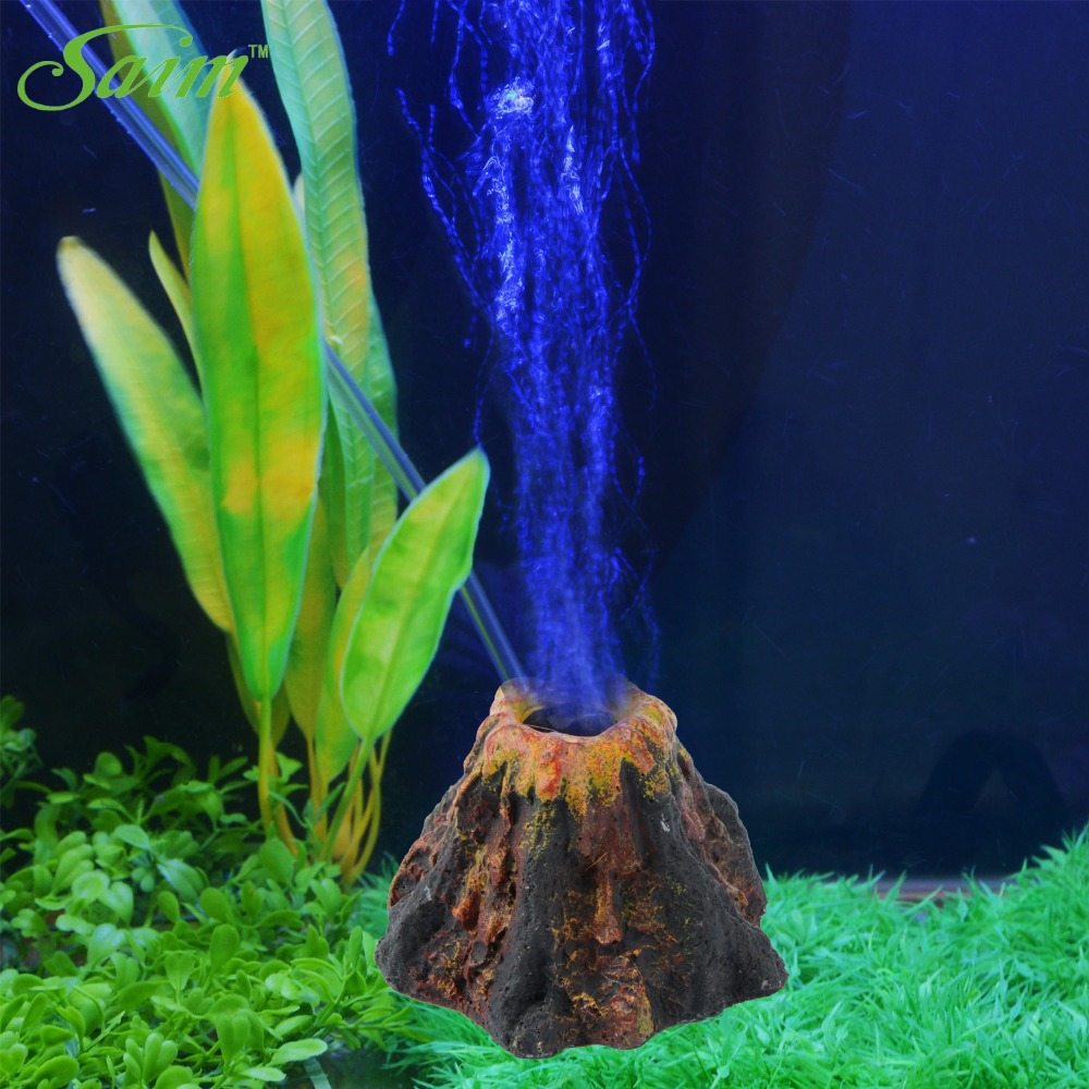 Fish in new aquarium - Saim New Aquarium Volcano Shape Aquarium Fish Tank Decor Ornament Oxygen Pump Air Bubble Stone Air