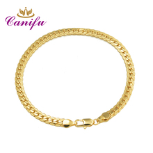 Canifu 210mm 5mm Gold Color flat bracelet for women high quality bracelets factory price wholesale