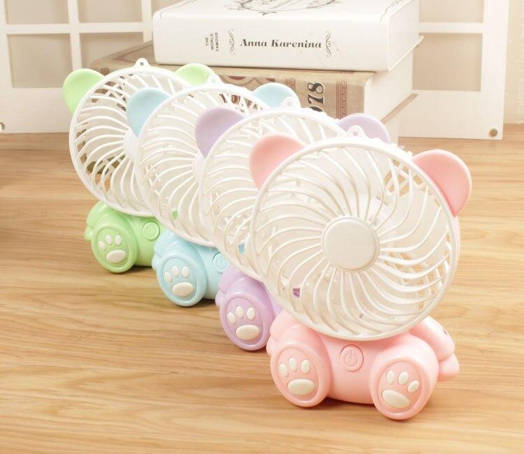 все цены на New Design Cute Bear Desktop USB Fan DC5V Inside Battery Portable Fan 4 Colors Household Fan онлайн