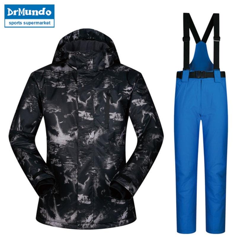 2018 nouveaux hommes combinaison de Ski mâle coupe-vent imperméable à l'eau épaissir vêtements Snowboard Ski vestes et pantalons ensembles marques d'hiver