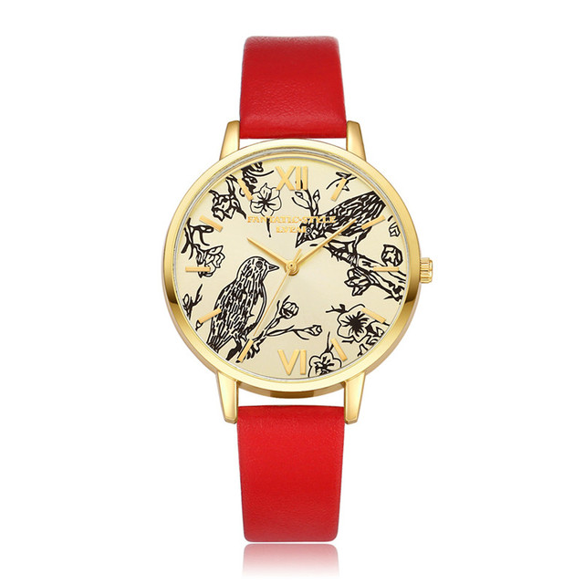 LVPAI Women Vogue Watches Bird Printing Analog Quartz Wrist Watch Female Dial Cl