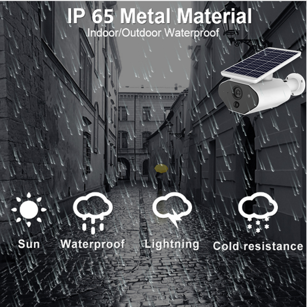 Image 3 - Outdoor Security IP Camera WIFI Wireless 1080P HD Solar Battery Power Surveillance CCTV Bullet PIR Alarm Audio Record TF Card-in Surveillance Cameras from Security & Protection