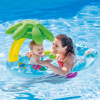 Double safe inflatable PVC baby swimming seat float adjustable sunshade seat swimming float for newborn baby swim