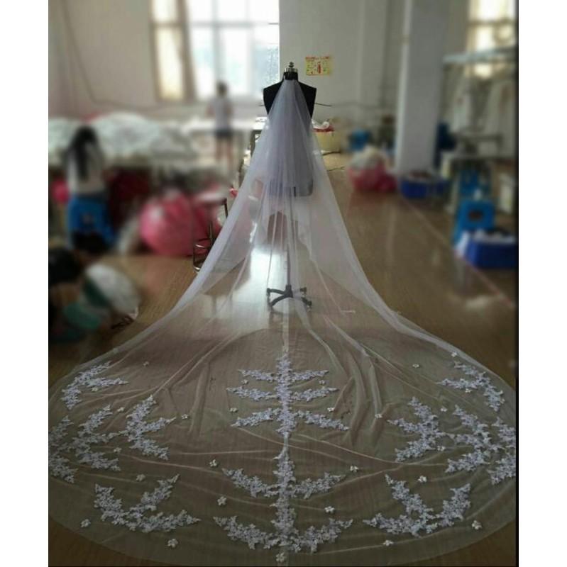 2-$69-Long 3 Meters Long Lace Appliques Edge Wedding Accessories Bridal Veil Veu De Noiva