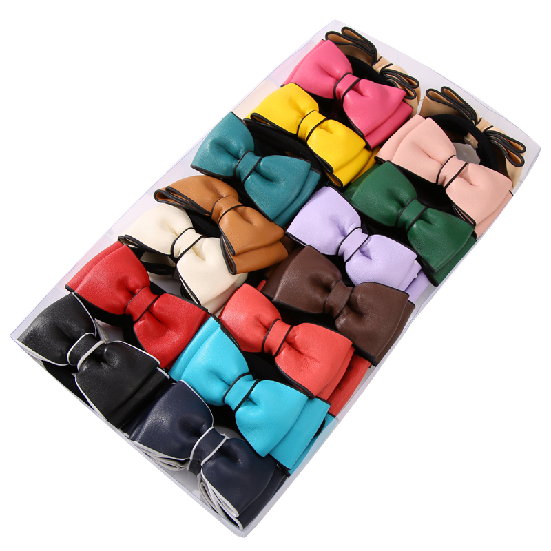 30 pcs/lot Brand New Multi-color PU Bows Elastic Hair Rope Rubber Bands for Women Girls Hair Accessories Jewelry Headwear free shipping 10pcs lot new adult elastic hair bands women headwear for girls hair rope headbands accessories 14 colors 15cm