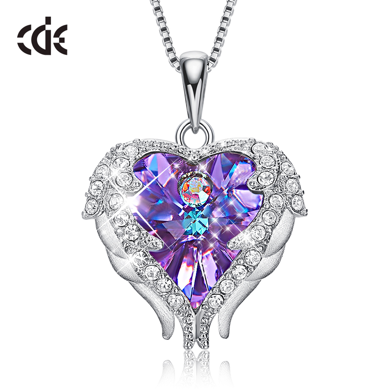 CDE 925 Sterling Silver Necklace Embellished with crystals Pendants Angel Wings Necklaces Heart Jewelry