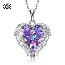 цена на CDE 925 Sterling Silver Necklace Embellished with crystals from Swarovski Pendants Necklace Angel Wings Necklaces Heart Jewelry