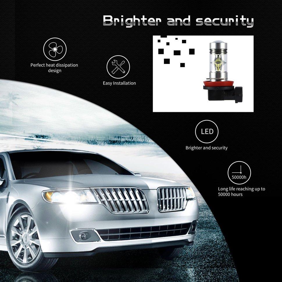 10x2pcs H8 H9 H11 H16 6000K 1000lm 100W Car Auto LED Fog Light Bulbs High Brightness h16 11w 360lm 6000k 5 led white foglight for car dc12 24v