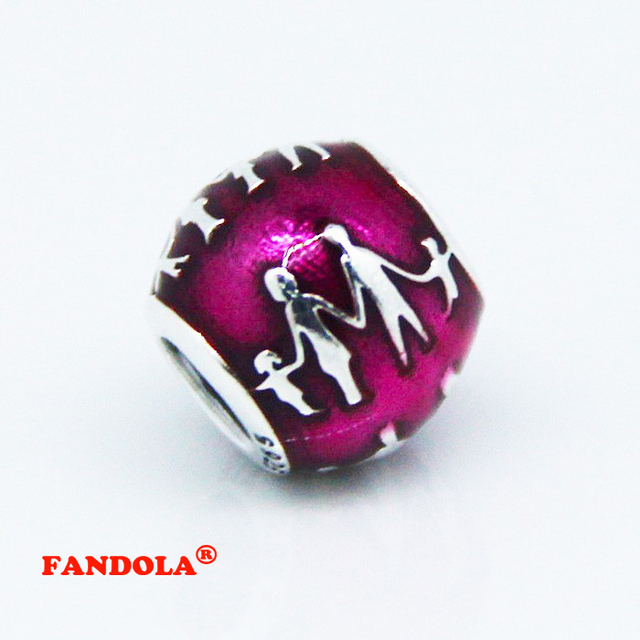 Fit Pandora Bracelets Family Silver Beads with Translucent Violet Enamel 925 Sterling Silver Charms DIY Jewelry Wholesale FL065