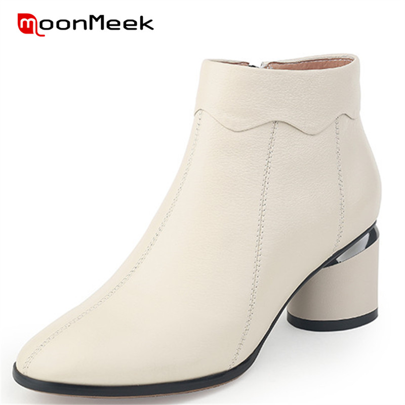 MoonMeek 2018 fashion round toe shoes new autumn winter ladies boots simple woman ankle boots high heels genuine leather boots цена 2017