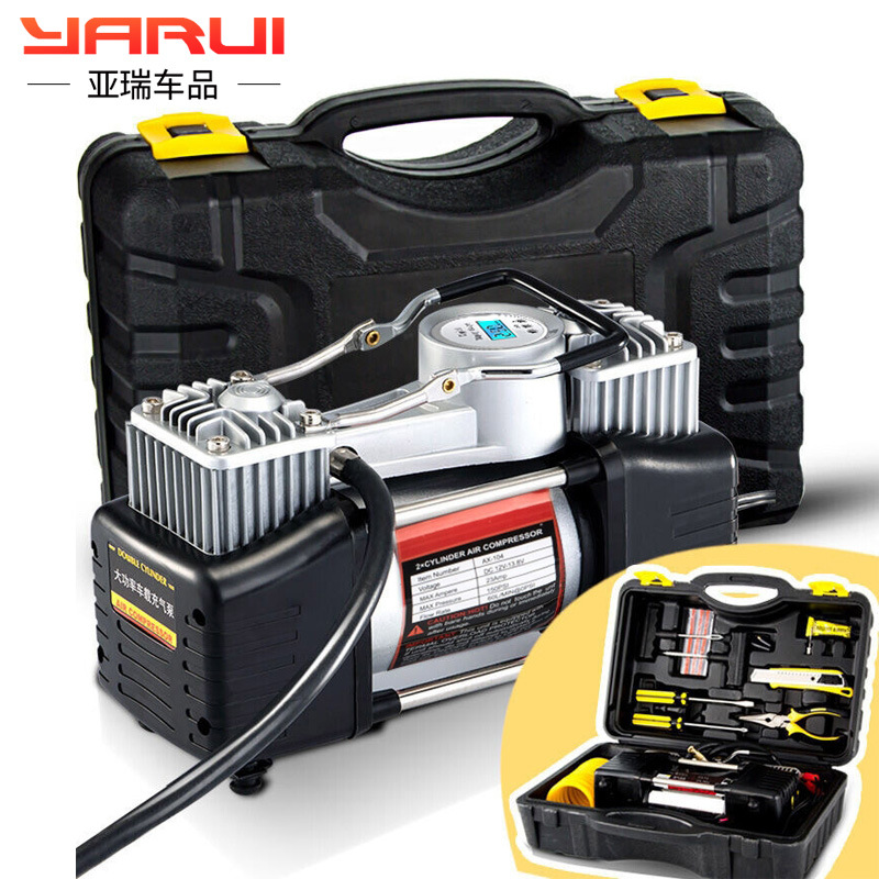 Inflatable Pump Useful Dc12v Portable Car Tire Inflator Pump Toolbox Air Pump Electric Compressor 30 Cylinder With Lamp Fast Filling Toolbox Travel & Roadway Product
