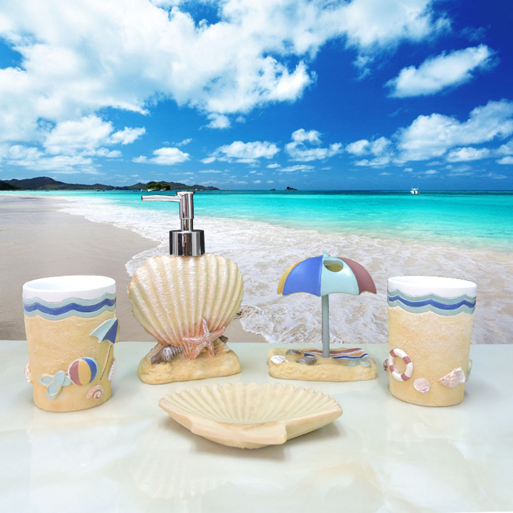 5 Pcs Resin Bath Accessories Set Contemporary Marine Style Lotion Dispenser +Toothbrush Holder+Soap Dish+2 Tumbler Sets 8 LXY9