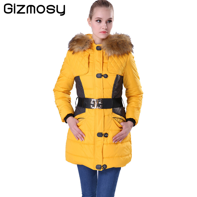 ФОТО Gizmosy Winter Jacket Women Parka Fur Collar Hooded Thickening Cotton Padded Winter Coat Manteau Femme Ladies Outwear BN004