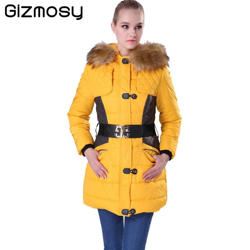ФОТО Gizmosy Winter Jacket Women Parka Fur Collar Hooded Thickening Cotton Padded Coat Manteau Femme Ladies Outwear BN004