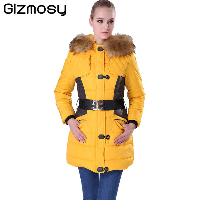 Gizmosy Winter Jacket Women Parka Fur Collar Hooded Thickening Cotton Padded Winter Coat Manteau Femme Ladies Outwear BN004