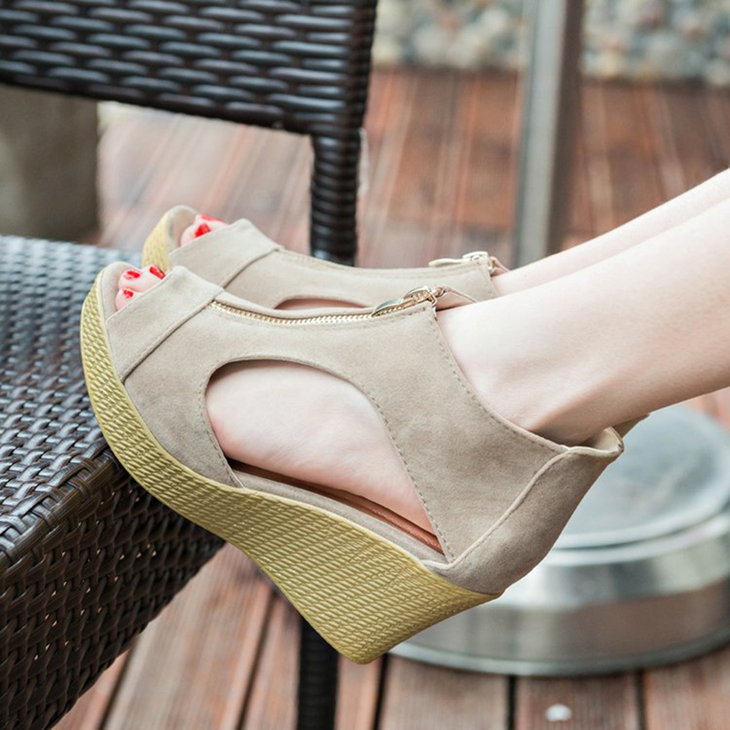 2019 Spring summer new sandals women's High heels 7.5cm Wedges zipper Increase Shoes Female Large size sandals