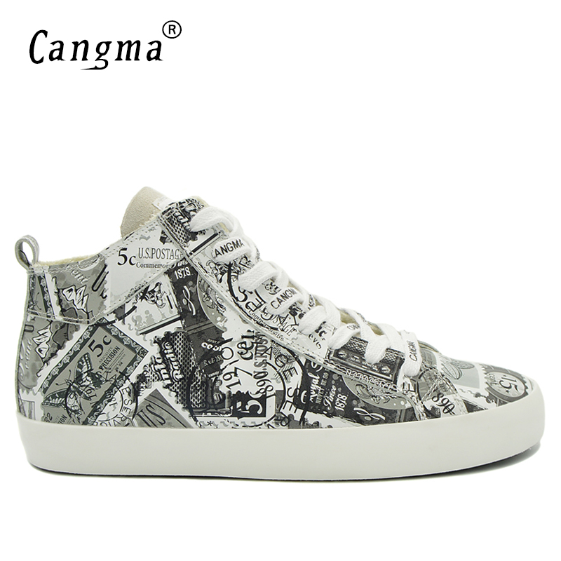 CANGMA Luxury Designer Man's Casual Shoes Mid Genuine Leather Sneakers Men Printing White Lace Up Platform Shoes Male Footwear cangma superstar italian luxury brand shoes for woman genuine leather women casual orange silver classic shoes schoenen vrouwen
