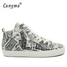 c89626df91 CANGMA Designer De Luxo do Homem Sapatos Casuais Meados Genuínos Sapatilhas  De Couro Dos Homens Rendas