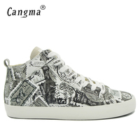 CANGMA Luxury Designer Man S Casual Shoes Mid Genuine Leather Sneakers Men Printing White Lace Up