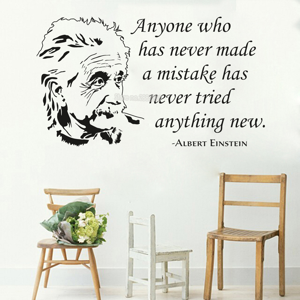 Art Albert Einstein Wall Sticker Quotes Vinyl saying Decals Office Living Room Home Decor Mural High Quality Wallpaper New LC408 image