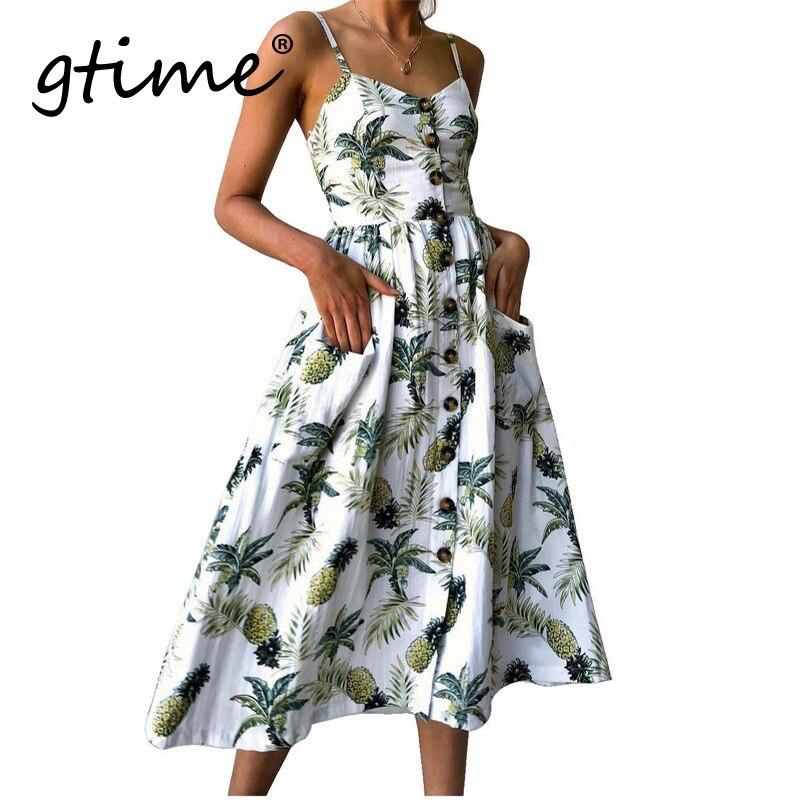 Gtime Dropshipping été Femmes Robe Vintage Sexy Bohème Floral Tunique Robe De Plage Robe De Soleil Robe Rayée Femme YJH001 Comme suit rasgar uma camiseta feminina