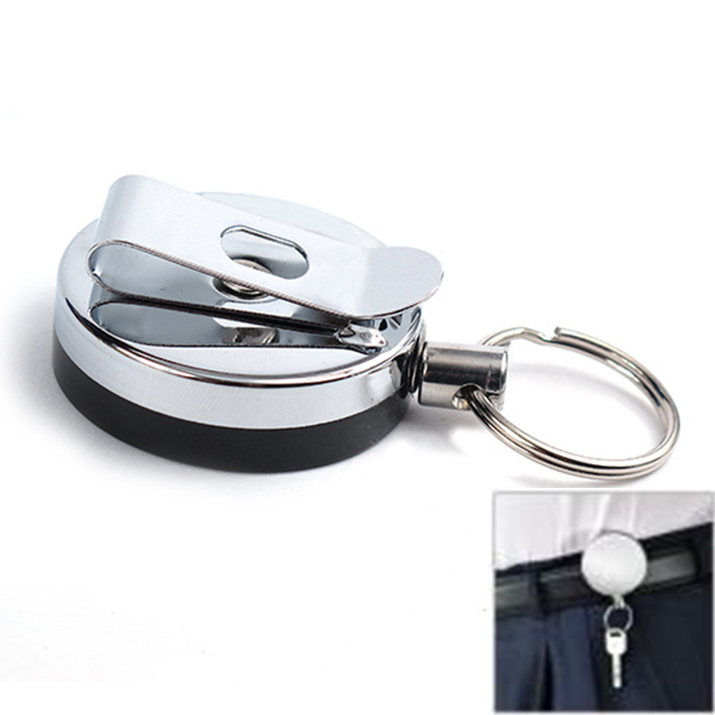 1xRetractable Recoil Key Ring Chain Pull Holder Reel Belt Clip Extend Keyring