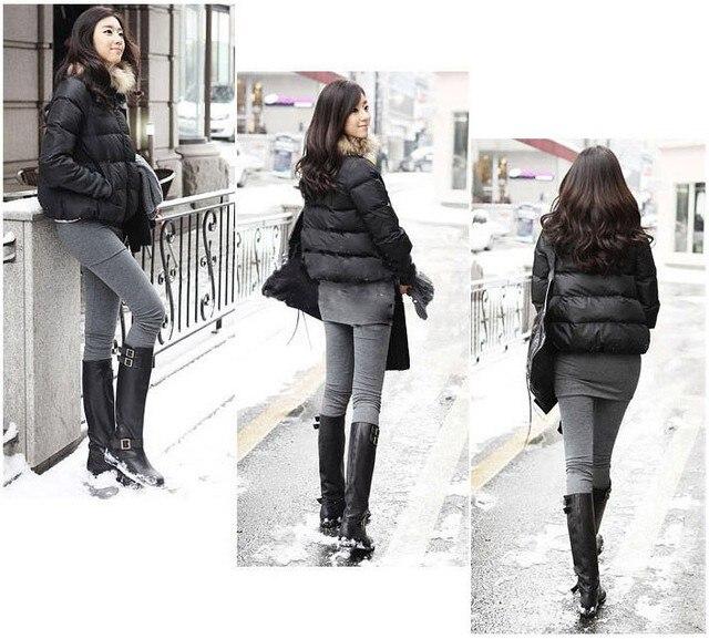 5 pieces Plus velvet Fake 2pcs legging Skirt Pants leggings trousers solid color thick cotton