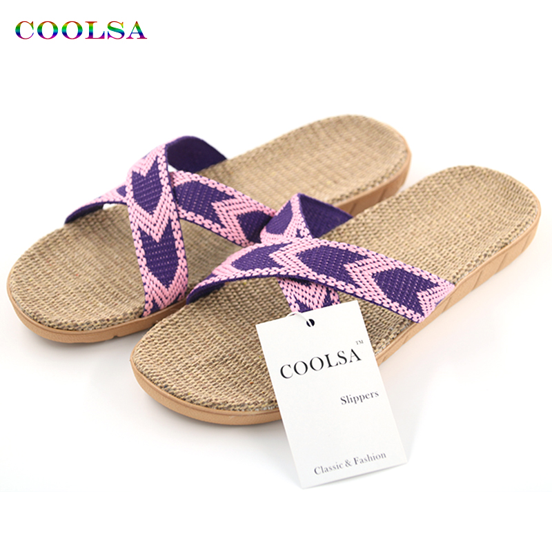 Coolsa New Summer Women Linen Slippers Beach Sandals Flat Ribbon Non-Slip Indoor Flax Slides Home Slipper Lady Casual Straw Shoe coolsa women s summer flat non slip linen slippers indoor breathable flip flops women s brand stripe flax slippers women slides