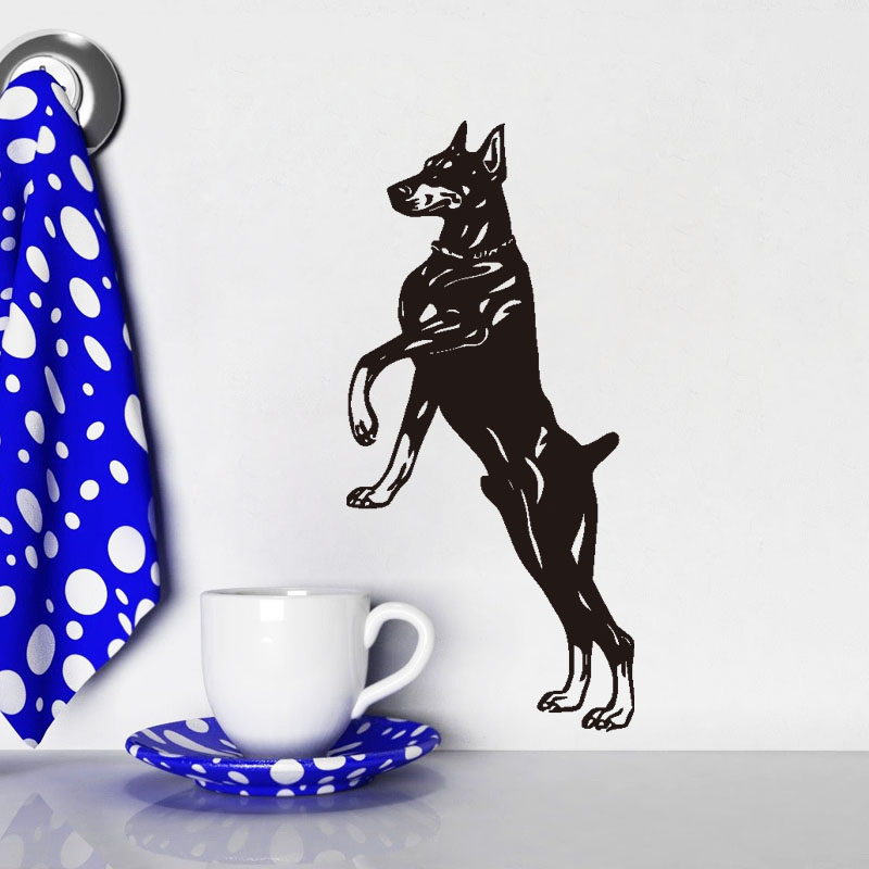 Jumping Doberman Vinyl Wall Sticker font b Home b font Decor Removable Dog Wall Decals For